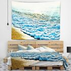 Designart Bright Blue Tranquil Seashore Beach Photo Wall Tapestry