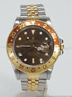 Rolex GMT Master Root Beer 16753 18k Gold Steel Vintage Watch