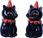 Black Cat Halloween Salt  Pepper Shaker Set New Adorable cats with party hats