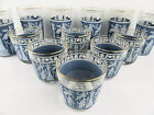 LOT OF 12 VINTAGE BLUE GRECIAN TUMBLERS SWANKY SWIG GOLD RIMMED JEANETTE BARWARE