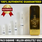 Paco Rabanne 1 Million Absolutely Gold Perfume 2ml 3ml 5ml 10ml AUTHENTIC SAMPLE