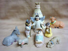 UNIQUE Porcelain 9 Pc NATIVITY SET w Teepee Squaw Brave Papoose 1992 HOL