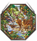 AMIA STAINED GLASS SUNCATCHER DEER CREEK 15 x 15 OCTAGON PANEL 41841