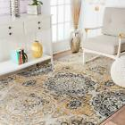 nuLOOM Contemporary Faded Floral Design Area Rug in Ivory Gold Grey