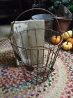Rustic Primitive Vintage Tin Wire Basket With Leaf Design GORGEOUS Rusty Patina