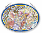 AMIA STAINED GLASS SUNCATCHER SEASHELL BEACH SEASHELLS 65 X 9 OVAL 5362