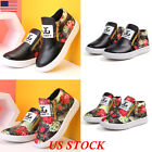 Fashion Winter Kids Girls Floral Ankle Boots Zipper Slip On Casual Sneaker Shoes