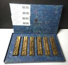St Louis Crystal France THISTLE Gold Knife Rests Set of 6 Mint with Box