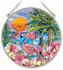 AMIA STAINED GLASS SUNCATCHER 65 ROUND FLAMINGO BAY 6413
