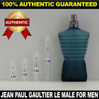Jean Paul Gaultier Le male EDT 2ml 3ml 5ml 10ml AUTHENTIC DECANT ATOMIZER SAMPLE