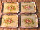 4 Miniature Vintage Shabby French Country HP Roses Paper Mache' Tole Trays
