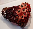 ANTIQUE RUBY CZECH GLASS BEADED BULB COVER for Spelter or Bronze Nouveau Lamp