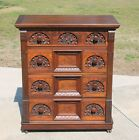 Large~Victorian Heavily Carved Aesthetic Burl Walnut 4 Drawer Chest c1890's