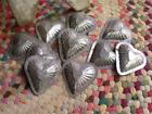 Lot of 10 Primitive Antique Tin Heart Shaped Molds Think Christmas Ornaments !
