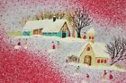 A CHRISTMAS GATHERING IN THE VILLAGE VINTAGE GERMAN DAMASK RED PRINT TABLECLOTH