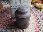 Primitive Antique 19th Century Tin Canister Tea Box Hinged Lid GREAT Patina