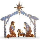 Christmas Holiday Indoor Outdoor Decoration 6 Foot Nativity Scene Clear Lights