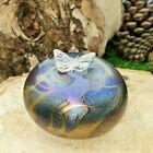 Neo Art Glass pebble paperweight ornament silver fairy frog butterfly KHeaton