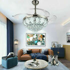 42 Luxury Silver Crystal Ceiling Fan Lamp LED Dimmer Chandelier Lighting+Remote