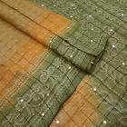 Vintage Saree Indian Pure Khadi Silk Beige Bandhani Printed Sari Craft Fabric