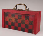 Vintage Red Leather Wood Box Old Chess Dragon Game Chess Card