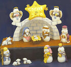 Ceramic Bisque Ready to Paint Snow Nativity Set light for Star lighting include