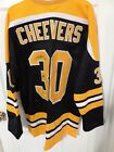 Gerry Cheevers Boston Bruins Autographed Stanley Cup Retro Hockey Jersey xl