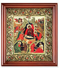 Russian Orthodox Icon Nativity of Christ Scene Saints Angels Wooden Shrine 10