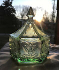 VINTAGE INDIANA GLASS TIARA HEXAGON COVERED CANDY DISH FEDERAL EAGLE