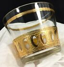 Vtg 1960's Culver Antigua Pattern Glass Ice Bucket 22k Gold MCM Bar Ware