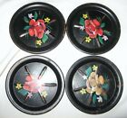 VINTAGE SET OF 4 TOLE PAINTED FLORAL TIN COASTERS