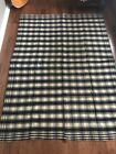 Antique Handwoven Wool Blue White Plaid  Blanket from 1800's