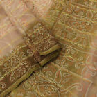 Vintage Saree Indian Pure Khadi Silk Peach Bandhani Printed Sari Craft Fabric