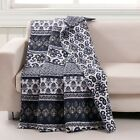Quilt Throw Indigo Ikat South Indian Ocean Native Motif Lap Blanket Bedding