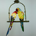 Pendant Hanging Lamp Glass 2 Parrots Stained Rural Ceiling Chandelier Light New