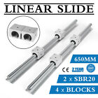 Sbr20 650-2200mm Linear Slide Rail Guide Shaft Rod With 4pcs Sbr20 Bearing Block