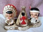 INDIAN BOY  GIRL with TEEPEE SALT  PEPPERS SHAKERS  TOOTHPICK HOLDER JAPAN