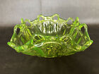RARE Vaseline Glass Square Bowl Open Lace Rim Fenton Fostoria Uranium OLD Yellow