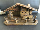 RARE Christmas Nativity WOOD Creche Stable Manger Germany 1967 Hofler Hans OOAK