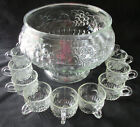 VINTAGE JEANNETTE CLEAR FRUIT PATTERN PUNCH BOWL AND 11 CUPS