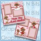 YOURE VERY SWEET VALENTINE 2 Premade Preprint Scrapbook Pages 0613