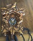 Vintage Large Working Cuckoo Clock Germany 2 Cast Iron Cones Birds
