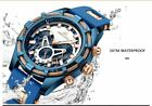 Mens Luxury Brand Waterproof Blue Silicone Strap Sports Chronograph Megalito