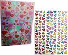 Set of 232 Heart Holographic Metallic Laser Stickers for Valentines Day Bundl