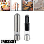 2PCS Set Mill Salt Pepper Automatic Electric Shaker Grinder Stainless Steel