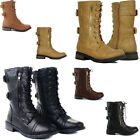 Womens Combat Lace Up Zip Buckle Motorcycle Boots Black Tan Winter Biker Boots
