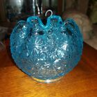 Daisy and button glass Rose Bowl crystal clear blue in color