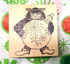 Stampa Barbara Cat rubber stamp christmas poinsettia posing with ornament