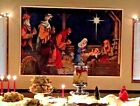 VINTAGE NATIVITY WALL MURAL Christmas Decor Magi  Manger Backdrop 5 X 4