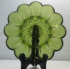Vintage Indiana Glass Deviled Egg Plate Green Clear Glass starburst Pattern
